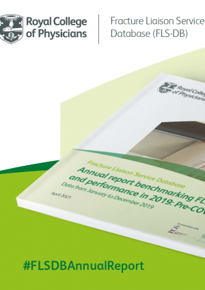A copy of the fracture liaison service database annual report, alongside the text: The FLS-DB annual report covering 2019 data is now available.