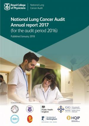 Report front cover featuring two hospital doctors reading a folder of patient notes