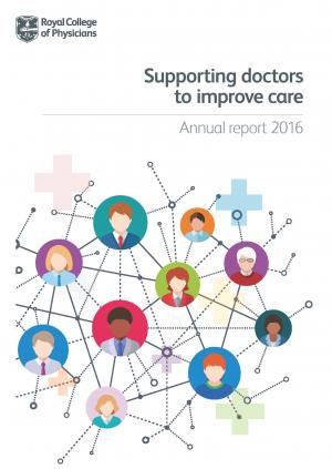 Report front cover featuring drawings of doctors' faces in small, interconnected circles