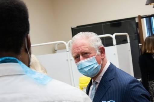 Prince Charles visiting a COVID-19 vaccination centre