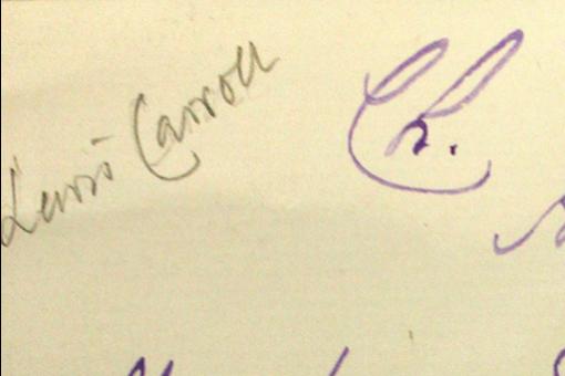 Pencil inscription 'Lewis Carroll'