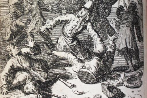 Engraved illustration of physicians and apothecaries fighting each other