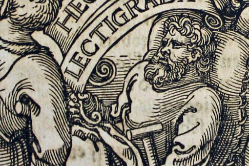 Woodcut illustration of a man lying in bed with gout.