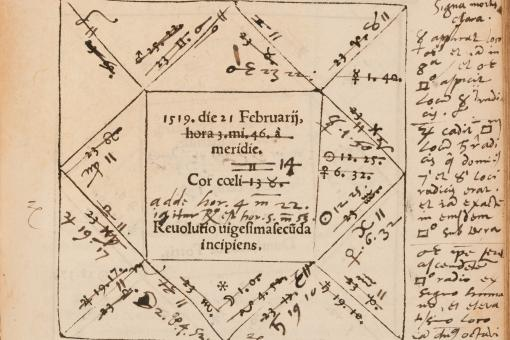 A horoscope chart surrounded by manuscript annotations