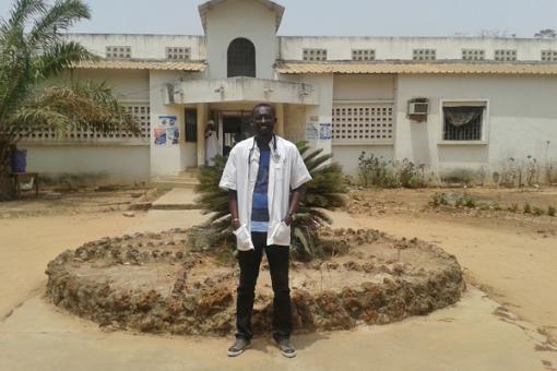 Dr Clement Diarga Basse outside hospital in Senegal's Ziguinchor region