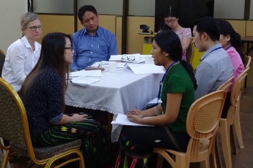 Group of doctors at communications skills workshop in Yangon, Myanmar