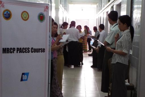 Candidates prepare for a communications scenario at Mandalay General Hospital