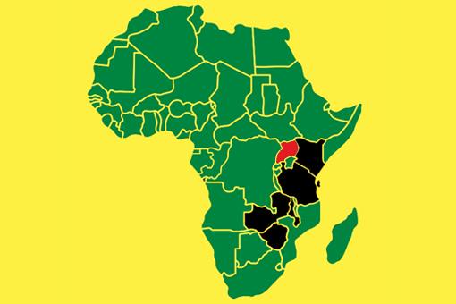 Map Of Africa Uganda Highlighted.Physicians For Africa Medical Education Training Begins In