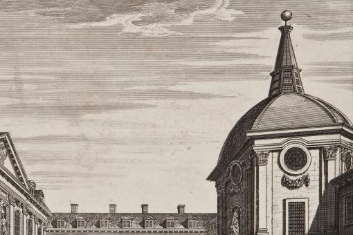 Engraved illustration of the courtyard of the RCP building on Warwick Lane in the 18th century