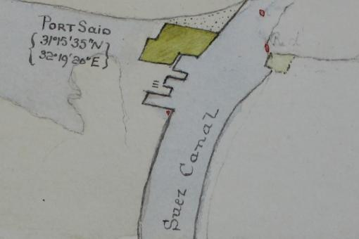 Hand-drawn sketch of Lake Menzaleh, Port Said and the Suez Canal