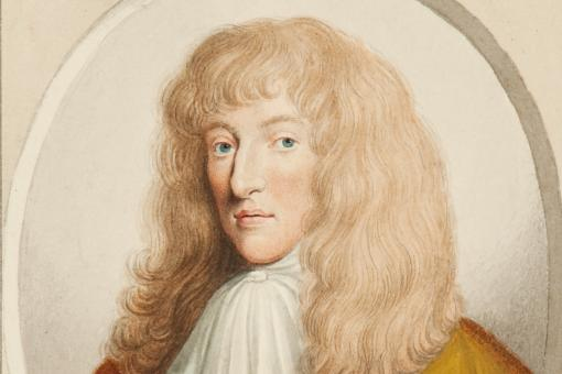 Colour drawing of a young-looking man with long flowing blond hair
