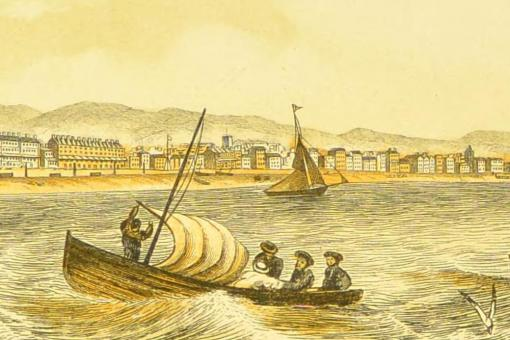 Colour lithograph drawing of boats on the sea off the coast of Worthing, southern England