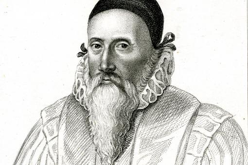 Portrait of John Dee. Stipple engraving by Robert Cooper after unknown artist, late 18th to early 19th century.