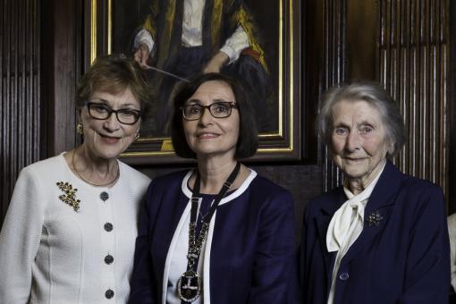 Dame Margaret Turner-Warwick stands alongside Dame Carol Black and Professor Jane Dacre