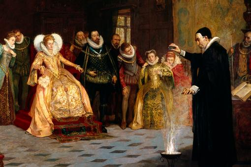 Wellcome Library, London: John Dee performing experiment for Elizabeth I, painting by Glindoni
