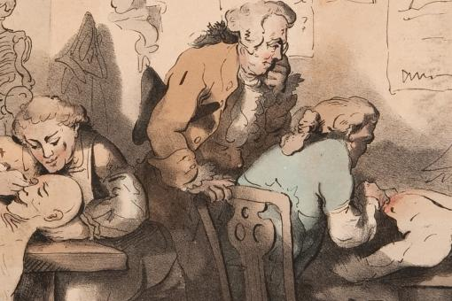 The dissecting room, by T C Wilson after Thomas Rowlandson