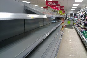 empty supermarket shelves