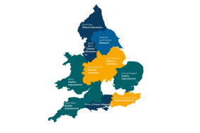 Map of England divided into regions