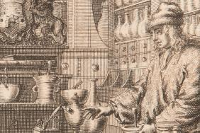 Engraved illustration of an 18th century apothecaries' shop