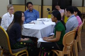 Group of doctors at communications skills workshop in Yangon, Myanmar