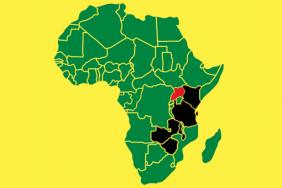 Map of Africa with Uganda highlighted