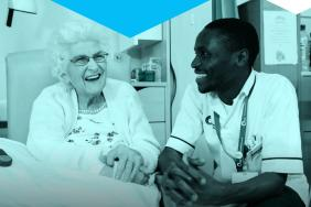 Report front cover showing an older person and a healthcare professional smiling
