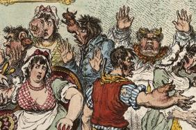 Colour etching of people being inoculated against small pox and having cows' heads growing from their bodies.