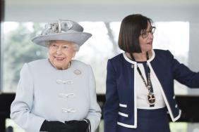 The Queen smiling with Professor Jane Dacre beside her