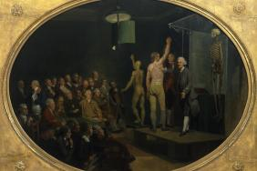 A painting by Johan Zoffany of William Hunter lecturing