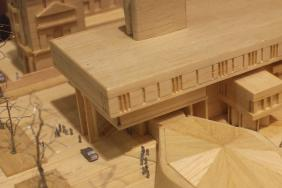 Photograph of a model of the RCP London building made from plywood