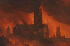 Painting of the old St Paul's Cathedral in flames