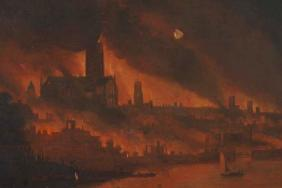 Oil painting of the Great Fire of London showing old St Paul's cathedral and the river Thames