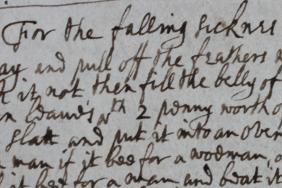 17th century manuscript recipe headed 'For the falling sickness'
