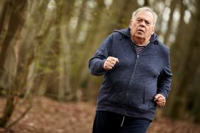 Elderly man running in wood (photo: World Obesity Federation)