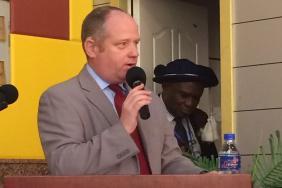 RCP head of international affairs Steve Crump speaking in Monrovia
