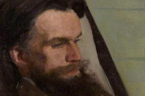 Portrait in oils of a man with a dark beard sitting and reading a book