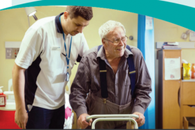 Booklet front cover showing a patient and a nurse speaking and smiling